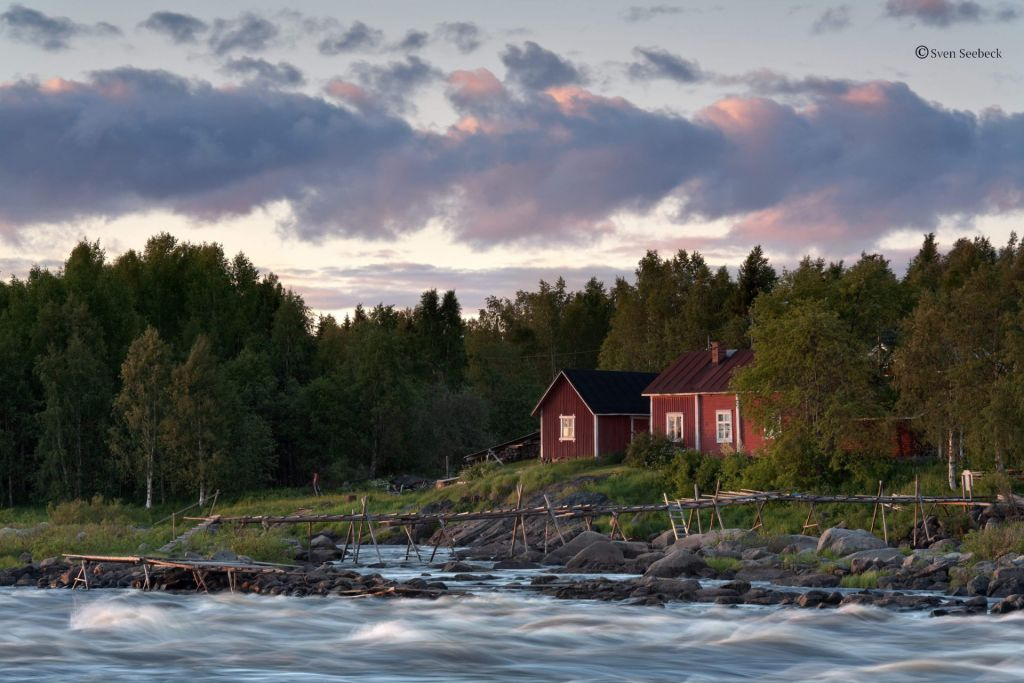 An Evening View of River in Lapland Finland